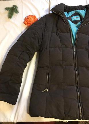Пуховая теплая куртка зима стеганая из перья