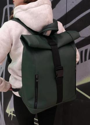 Rolltop рюкзак / экокожа / стильный женский зеленый рюкзак под ноутбук