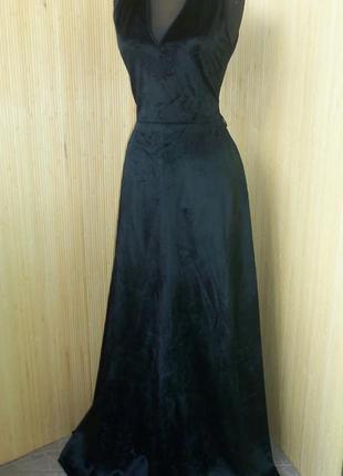 Вечернее винтажное шелковое  чёрное велюровое шёлковое  платье в пол miss lagotte в пол