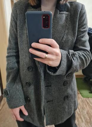 Пиджак, жакет двубортный в гусиную лапку в размере с, небольшая м