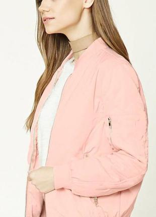 Чудесная куртка, бомбер, деми, пудрового цвета, forever 21, р.m, l