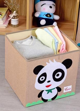 Складной ящик для игрушек, бежевый. панда.