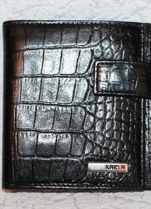 Компактный кожаный кошелек+визитница karya