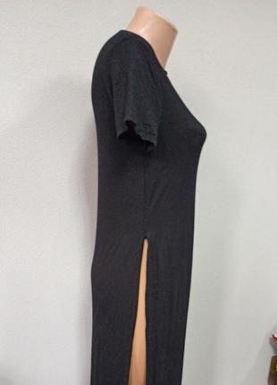 Платье футболка мидди с разрезами