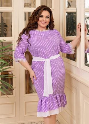 Платье с поясом. батал. до 64р