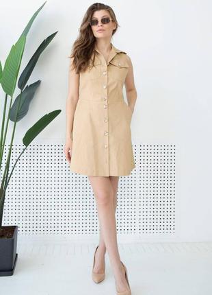 Женское бежевое короткое хлопковое платье без рукавов 3143-c01