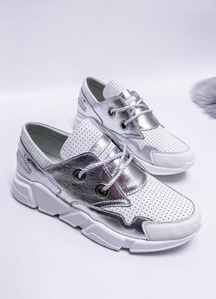 🔥 стильные кожаные кроссовки серебристые вставки с перфорацией