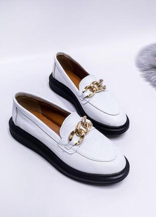 🔥 шикарные кожаные туфли лоферы слипоны мокасины с цепью