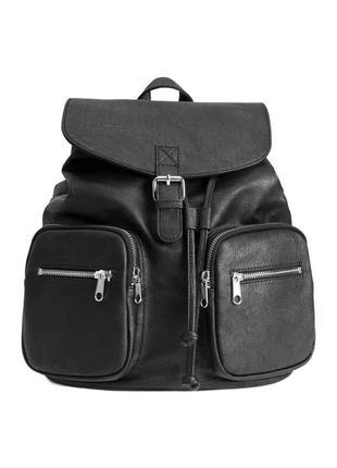 Черный рюкзак из еко кожи,черный очень вместител ный кожаный рюкзак