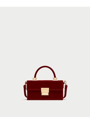 Маленькая вельветовая сумка сумочка кроссбоди кросс с длинным ремешком зара zara