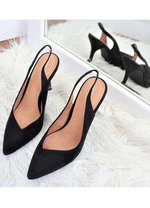 Замшевые туфли лодочки / босоножки next, высокий каблук