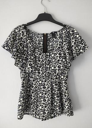 Стильная блуза h&m 34р. (xs) футболка леопардовый принт с рюшами