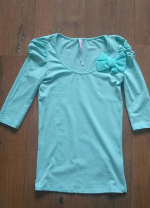 Кофточка голубая с бантиком, р.xs