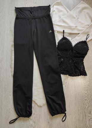 Черные спортивные штаны резинке широкие свободные высокая талия посадка adidas беременным