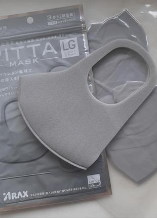 Pitta mask light gray серая оригинал япония 3шт. антибактериальная маска.