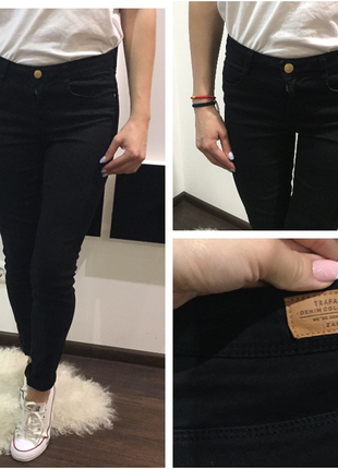 Крутые черные джинсы zara скинни skinny в обтяжку