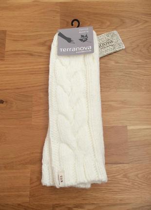 Новые белые митенки белые рукавицы перчатки мітенки