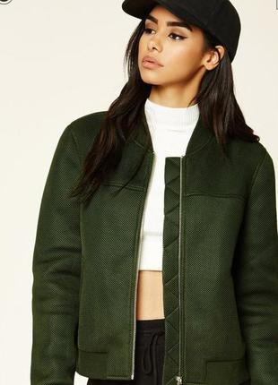 Необычная куртка, бомбер, деми, изумрудно-зеленого цвета,forever 21, р. м