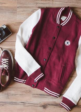 Спортивная флисовая куртка кофта converse, колледж, бейсбольная, университетка, марсала