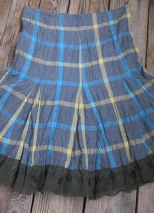 Тёплая юбка на хлопк.подкладе, плиссированная ткань, xs, интересная оборка с вышивкой