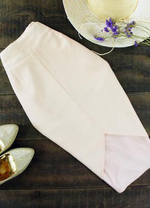 Нюдовая юбка карандаш с вырезом спереди missguided