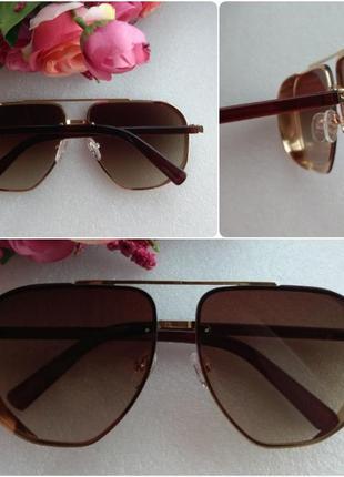 Новые крутые солнцезащитные очки с блеском по бокам, коричневые
