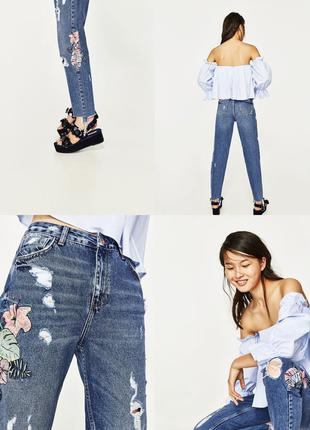 Zara оригинал!!!! джинси с вишивкой в наличии размер 38 заходьте на сторіночку!!!