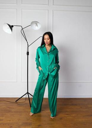 Шелковый комплект пижама одежда для дома рубашка штаны свободный крой