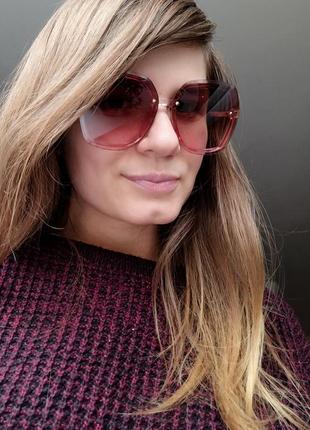 Новые стильные солнцезащитные очки с блеском по бокам, пудра