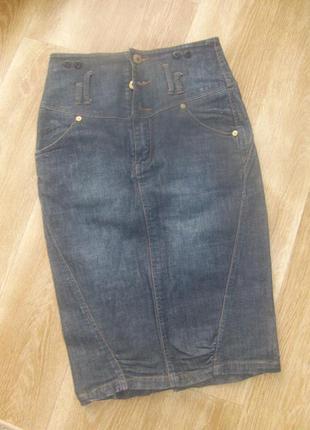 Юбка джинсовая на завышенной талии