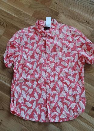Рубашка гавайка яркая kiabi slim fit
