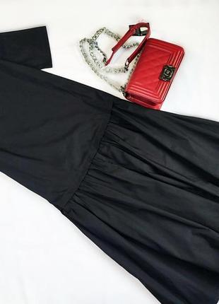 Хлопковое трендовое черное платье свободного кроя