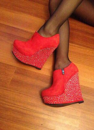 Ботильоны/красные ботильоны/ботинки на платформе/высокий каблук/красные ботинки