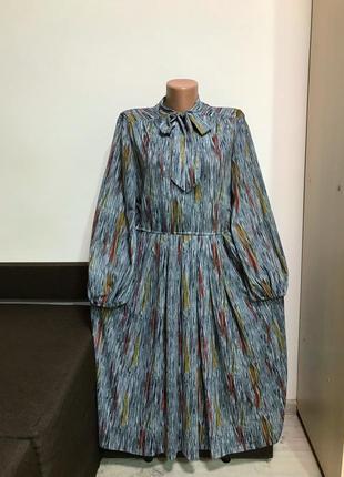Винтажное платье миди с поясом