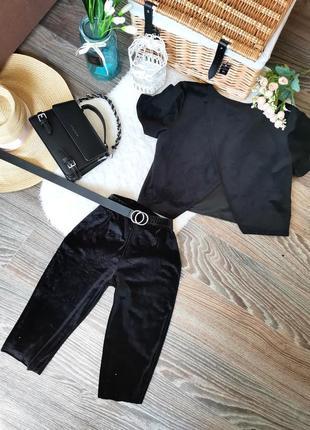 👑 крутой велюровый костюм велосипедки +блуза открытая спина955