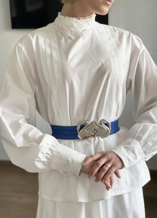 Винтажная хлопковая блуза с кружевом