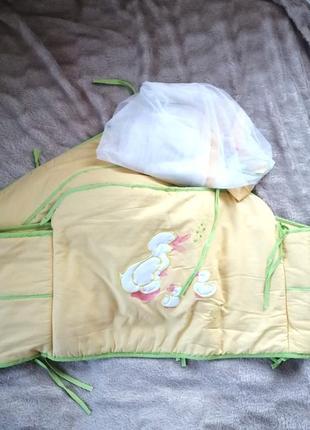 Бортики в ліжечко, захист,балдахін в подарунок агу