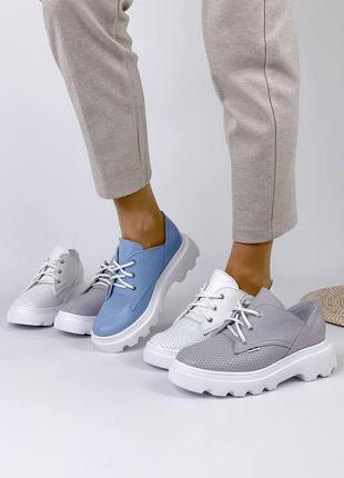 Туфельки на шнурках натуральная кожа