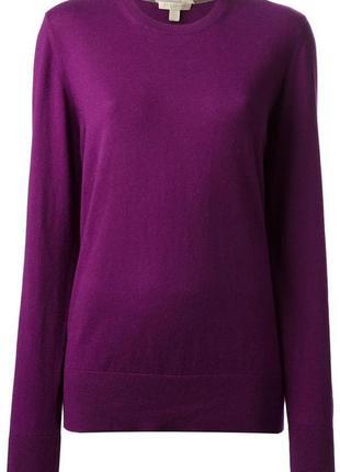 Шерстяной женский темно-пурпурный свитер с вырезом от burberry