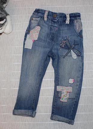 1,5-2г 92см next джинсы с накладками бойфренды
