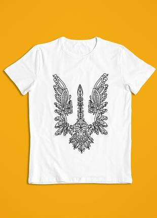 Мужская футболка белая герб украины орнамент1 фото