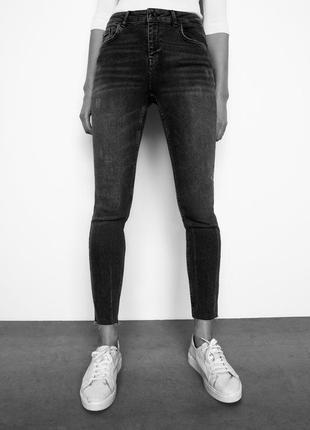 Zara premium графитовые джинсы с необработанным краем