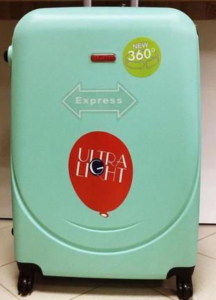Качественный чемодан gravitt  мятный легкий и удобный