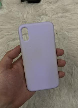 Лиловый силиконовый чехол на iphone 10 x xs