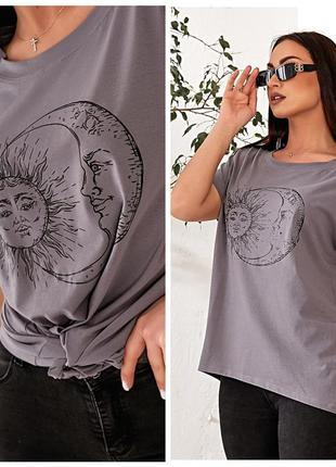 """Женская футболка больших размеров. принт """"день-ночь"""""""