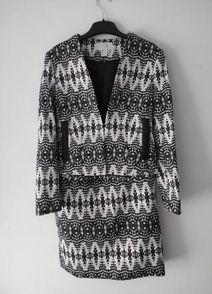 Костюм h&m двойка (юбка пиджак) с принтом