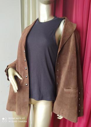 🍍🥭🍋🍊🍐стильный натуральный кожанный замш удленнëнный педжак куртка taifun