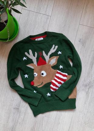 Новогодний свитер н&м зеленый