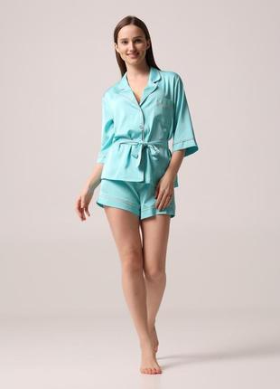 Пижама женская (жакет+шорты) эко-шелк тиффани