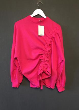 Свитшот свитер оригинальный дизайн розовый малиновый оверсайз новый 2018